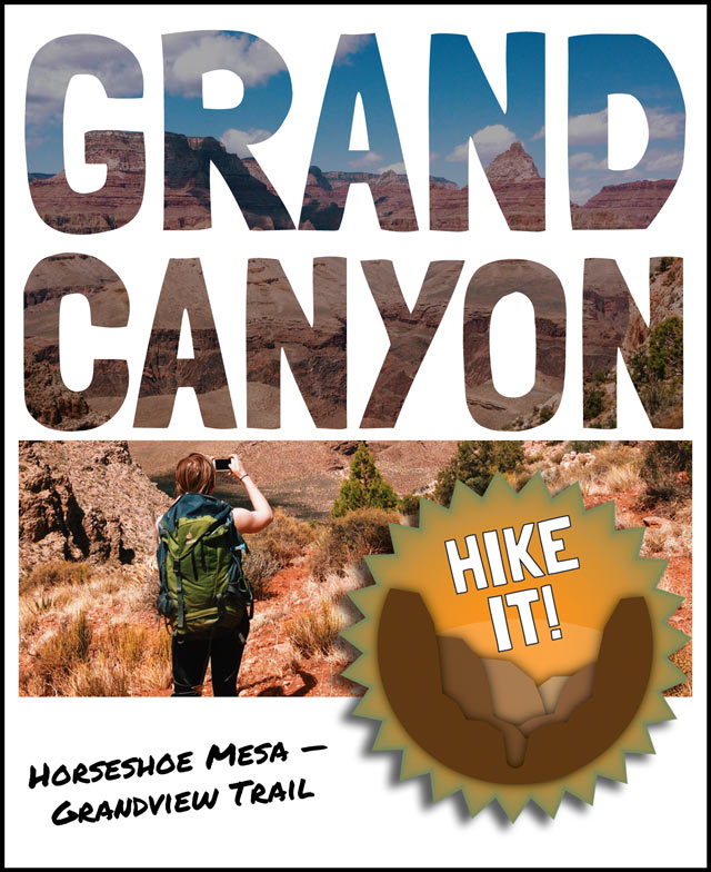 Polaroid-style photo of hiker taking a photograph on Horseshoe Mesa along the Grandview Trail