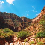 Looking back toward the rim from beneath the Redwall Limestone on Grand Canyon National Park's Bright Angel Trail