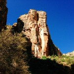 A prominent outcrop of Coconino Sandstone on the Bright Angel Trail.
