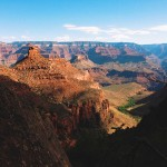 Sun and shadow illustrate the dramatic relief in Grand Canyon National Park.