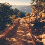 Several hundred feet below the rim of Grand Canyon, the South Kaibab Trail appears relatively straight and flat