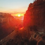 Sunset over Grand Canyon, taken from the South Kaibab Trail in the Toroweap layer.