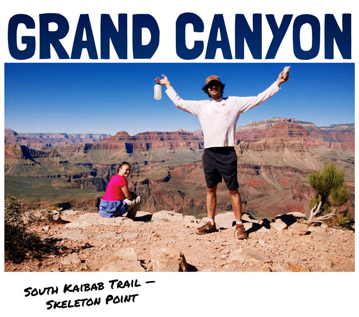 Polaroid-style photo of hikers at Skeleton Point on the South Kaibab Trail