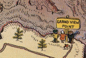 Detail from Jo Mora map showing Grandview Point