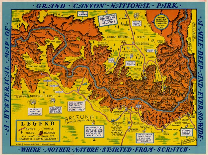 Classic cartoon travel maps of Grand Canyon Canyonology Treks – Grand Canyon Tourist Map