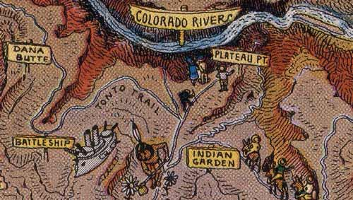 Circa-1931 trail network in Grand Canyon as drawn by Jo Mora.