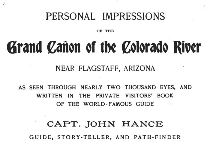 Title page of Personal Impressions of the Grand Canyon of the Colorado