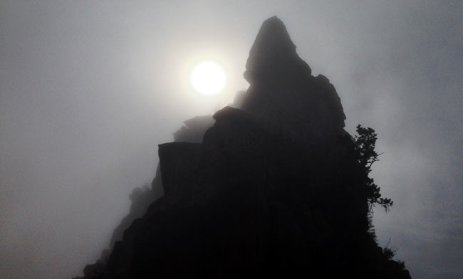 Cedar Ridge is silhouetted in front of a gray sky during an atmospheric inversion