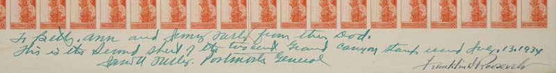 Detail of signatures from Farley and FDR on 1934 printing of Grand Canyon stamps
